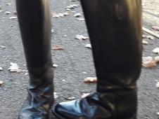 Black long Leather riding boots