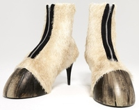 Human horse foot shoes selling at Cheltenham Festival